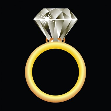 Diamond ring against black