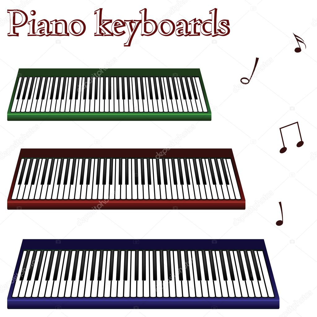 Piano keyboards against white