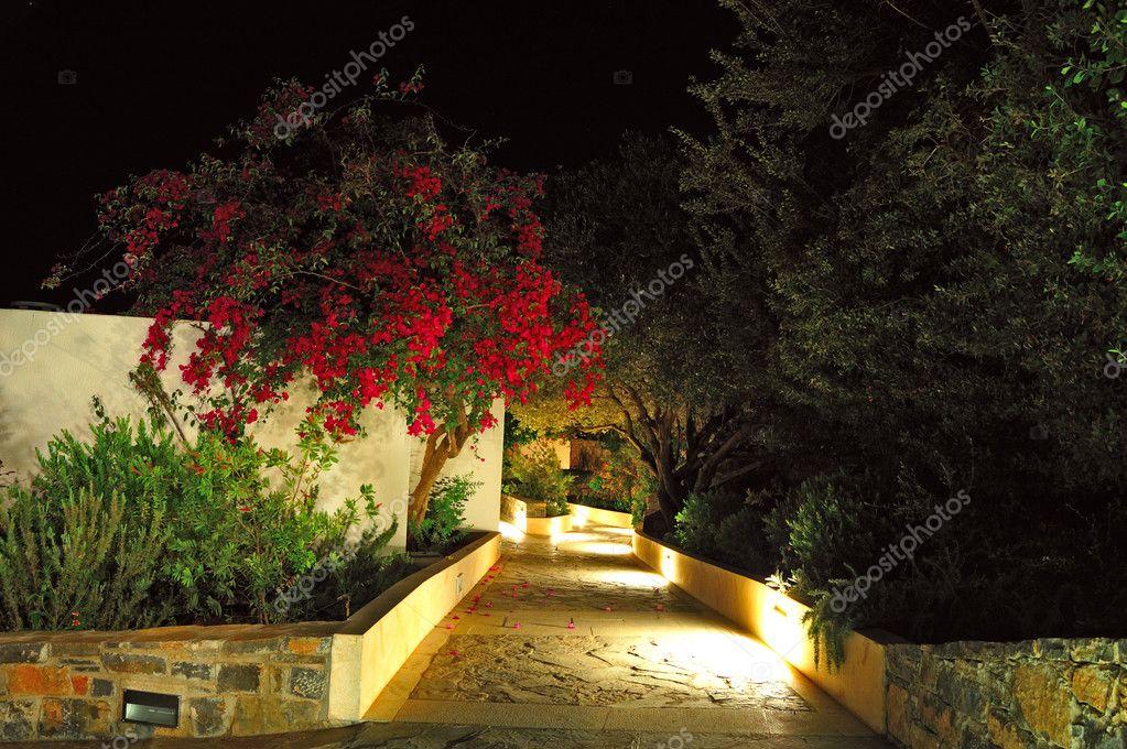 Illuminated path at luxury hotel