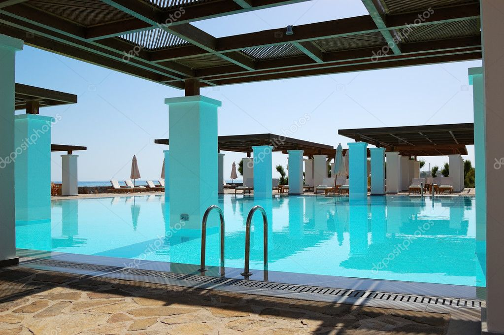 Modern swimming pool at luxury hotel, Crete, Greece