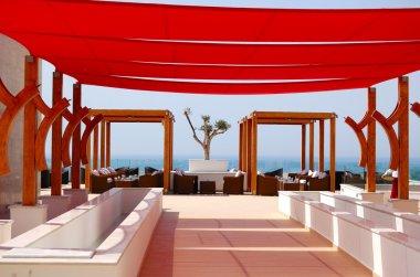 Relaxation area of modern luxury hotel, Crete, Greece