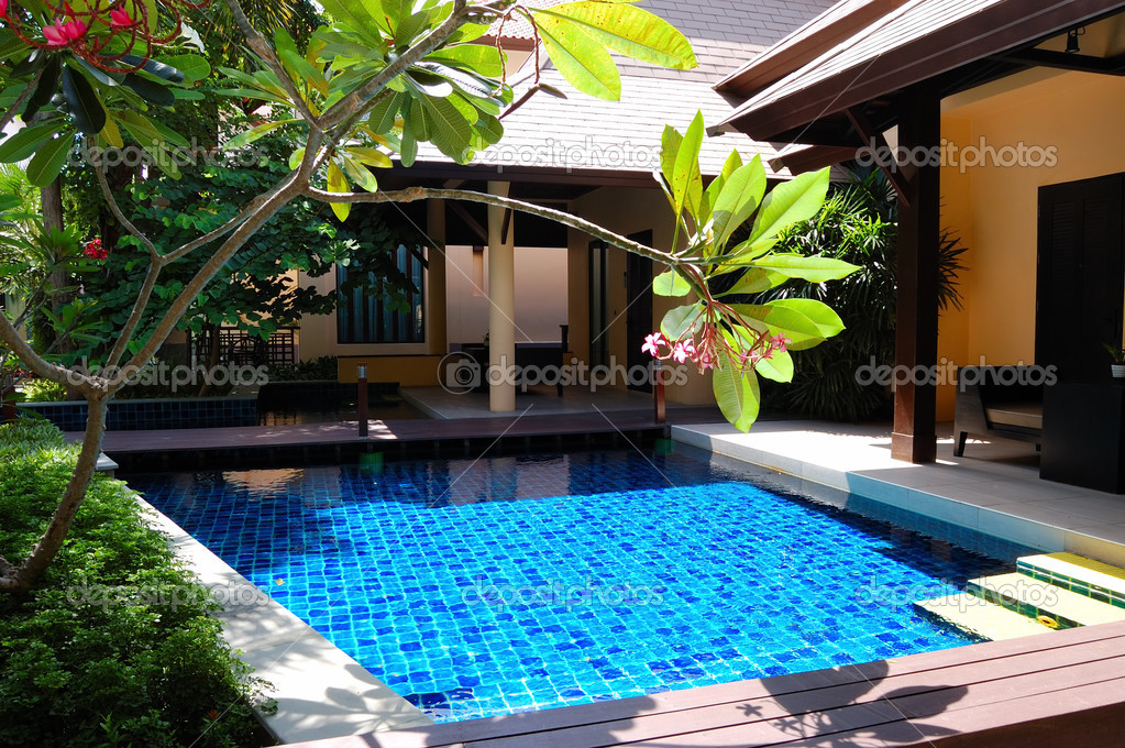 Swimming pool at the luxury villa, Pattaya, Thailand