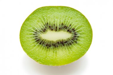 Freshly sliced kiwi on a white background