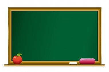 Blackboard with chalk and red apple