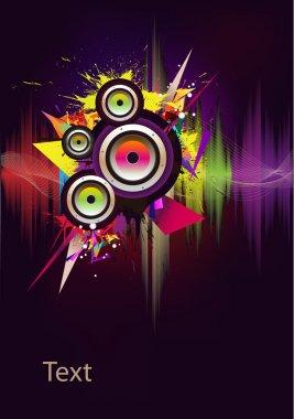 Music wave- vector with loudspeaker stock vector