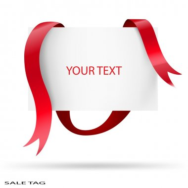 Blank sale tag. Red ribbons. Vector illustration.
