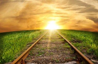 Old rusty rails - the railway leaving afar