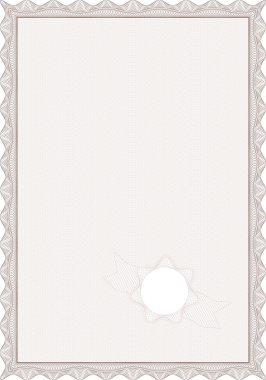 Guilloche style blank certificate