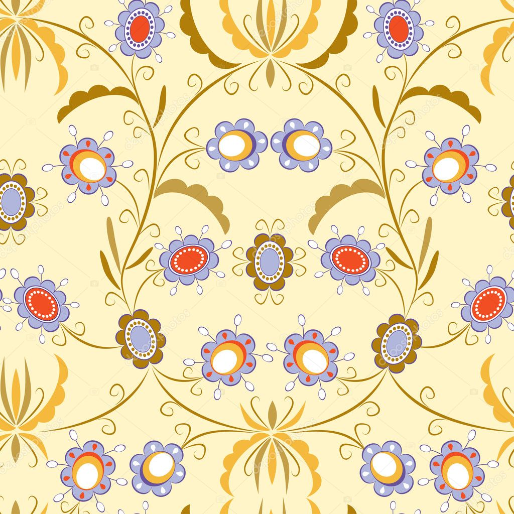 Seamless pattern with elegant flowers