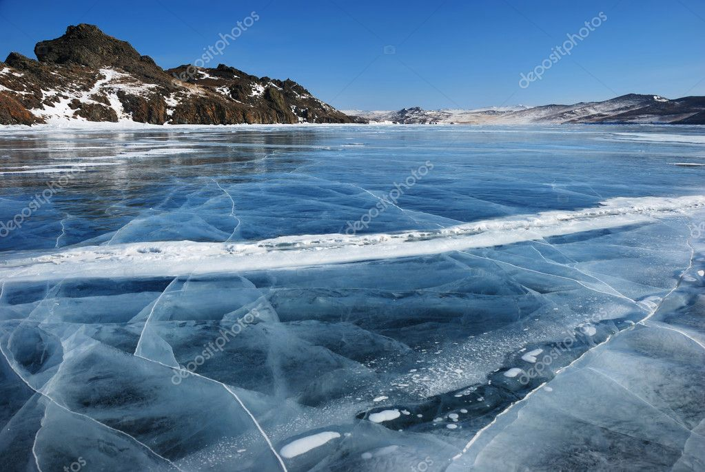 Frozen lake surface view