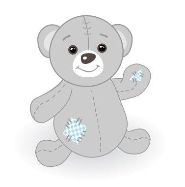 Grey teddy bear with patch
