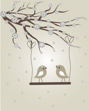 Abstract birds couple. Birds couple in love Vintage vector illustration.