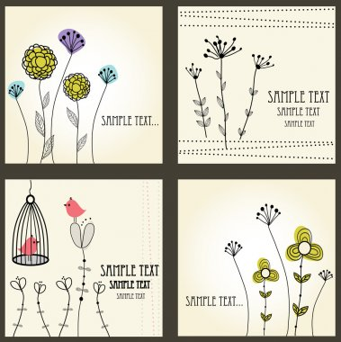 Retro floral cards set