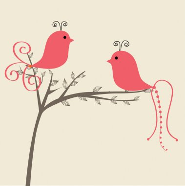 Abstract birds couple. Birds couple in love Vintage vector illustration.