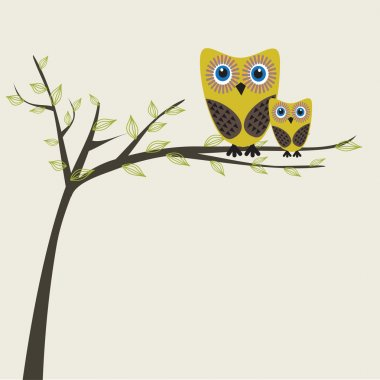 Owls couple on the tree.Vector illustration