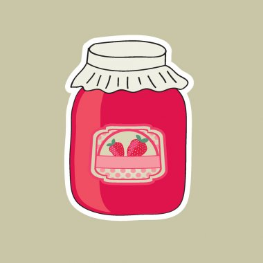 Jar with strawberry jam, vector illustration