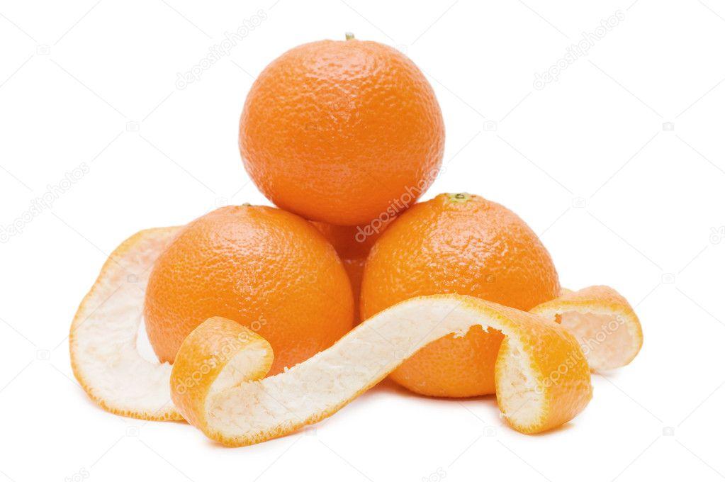 Fresh tangerines isolated on white