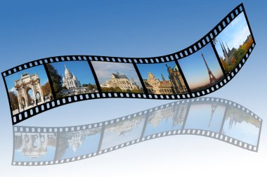 Film strips with travel photos