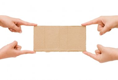 The cardboard tablet in a hand stock vector