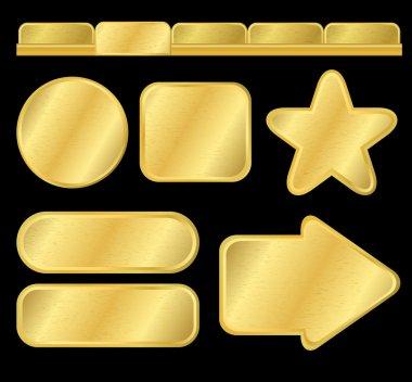 Golden textured buttons and menu
