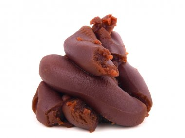 Red bean Paste. Close up on white background