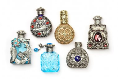 Six perfume bottles