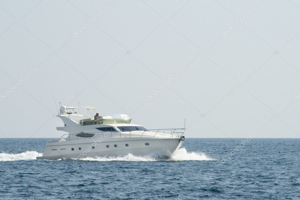 White yacht in the blue ocean