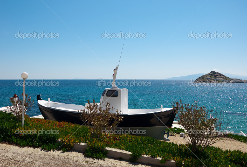 Fishing boat on the shore in grass