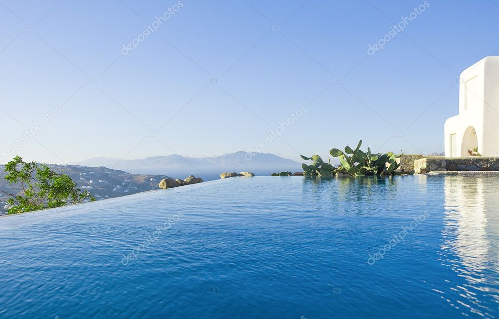 Blue Pool near the house of sky