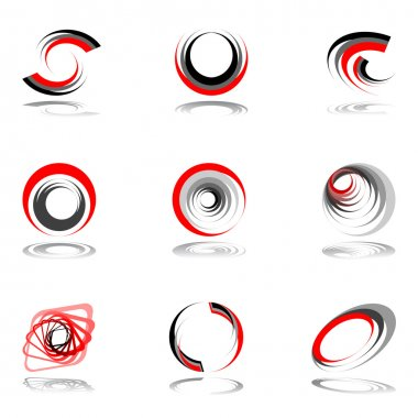 Design elements set in red-grey colors.