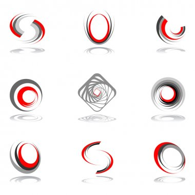 Design elements in red-grey colors #2.