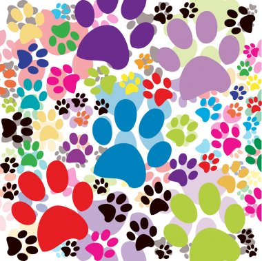 Background with colored paws