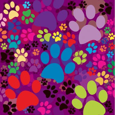 Colored background with paws