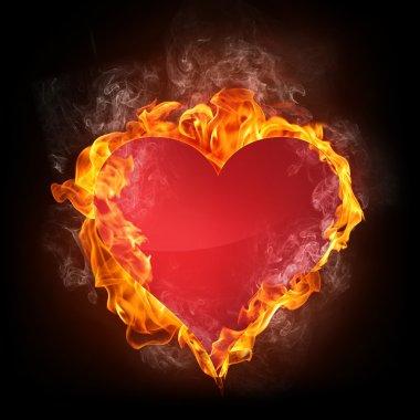 Heart in Fire. Computer Graphics. stock vector