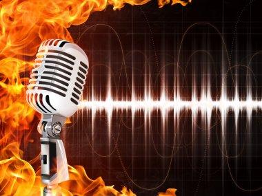 """Картина, постер, плакат, фотообои """"микрофон на фоне огня"""", артикул 3527624"""