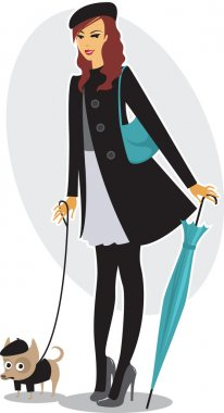 Elegant girl with her fashionable little puppy clip art vector