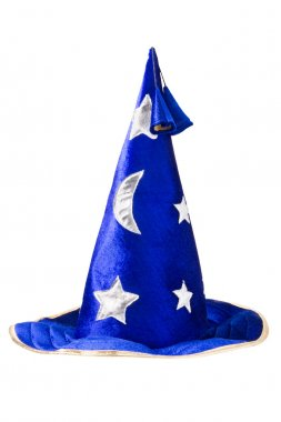 Blue wizards hat with silver stars, cap