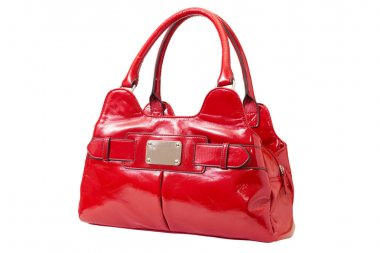 Female red patent handbag
