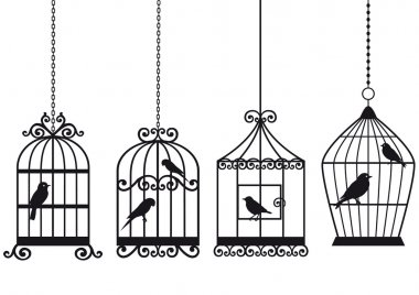 Vintage birdcages with birds