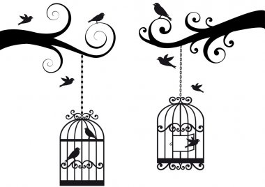 Ornamental tree branches with bircage and birds, vector background stock vector