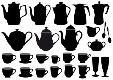 Coffee cups and pots, vector