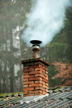 Chimney of house with smoke comming out of it and trees behind stock vector