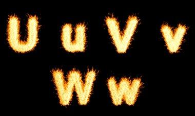 Burning U, V, W character