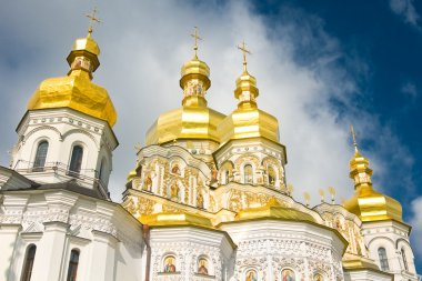Cloudy sky and Cupola of Orthodox church