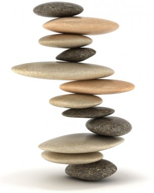 Stability and Zen. Extralarge resolution. Balanced stone tower over white stock vector