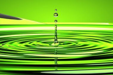 Water droplet and waves over green