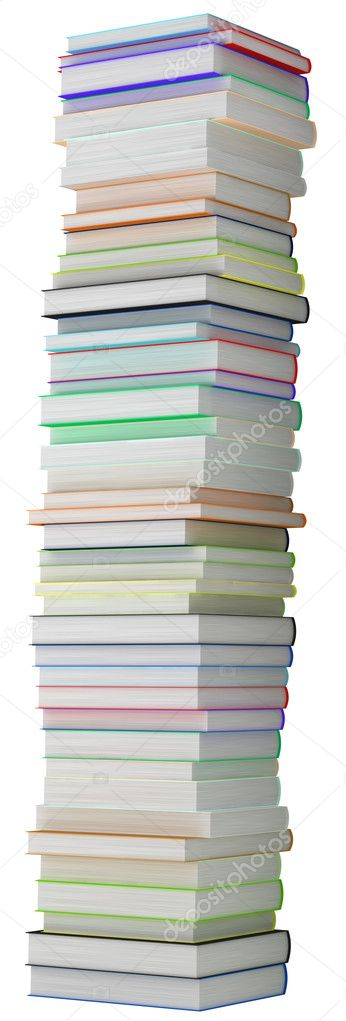 education and knowledge tall heap of hardcovered books stock