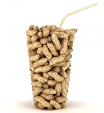 Glass shape assembled of peanuts with straw