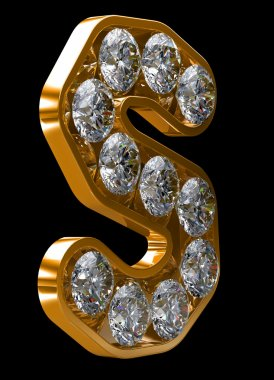 Golden S letter incrusted with diamonds