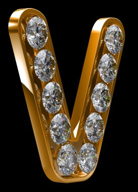 Golden V letter incrusted with diamonds